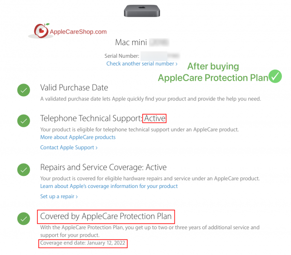 The AppleCare Protection Plan for Mac mini Extends your coverage to three years from the original purchase date of your Mac mini